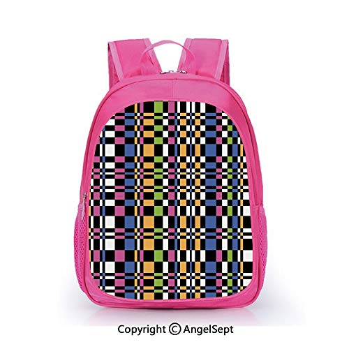 Hot Sale Backpack Casual Daypack,Abstract Checkered Pattern Geometric Optical Artwork Psychedelic Striped Mosaic Multicolor,15.7inch,Travel Outdoor Backpack For Boys And Girls