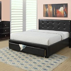 Casual Modern Design Lower Front Storage Drawer Queen Size Bed 4pc Set Black Dresser Mirror Nightstand Tufted Faux Leather Bedframe Bedroom Furniture