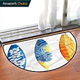 DESPKONMATS Surf Semi-Circular Non-Slip Carpet, Surf Fun Water Sports Modern Antibacterial Soft Microfiber Mats, Phthalate Free, Rugs for Office Stand Up Desk, Half Circle-W39.4 x R23.6 INCH