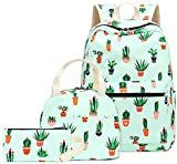 Teen Girls Backpack School Book Bag Set with Lunch Box and Pencil Case for Kids and Children (Cactus Green-0042)
