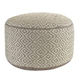 "Product review for Diamond Pattern Beige Wool 20"" Round Hand Woven Ottoman Pouf"