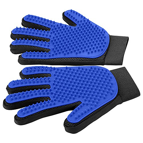 [Upgrade Version] Pet Grooming Glove – Gentle Deshedding Brush Glove – Efficient Pet Hair Remover Mitt – Enhanced Five Finger Design – Perfect for Dog & Cat with Long & Short Fur – 1 Pair