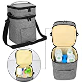 Luxja Double-Layer Breastmilk Cooler Bag (Fits 4 Bottles, Up to 9 Ounce), Breastmilk Cooler for Breastmilk Bottles and Accessories (Bag Only), Gray