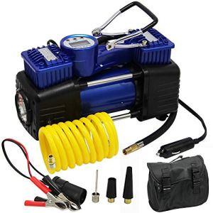 FORUP Dual Cylinder Air Compressor Pump, Heavy Duty Portable Air Pump, 150 PSI, LCD Backlit Digital Display, Auto 12 V… 51MZuqIF6kL