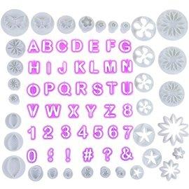 Kit 77 stampini pasta di zucchero e lettere alfabeto