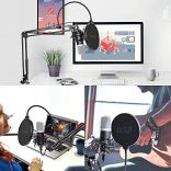 USB-Podcast-Condenser-Microphone-192kHZ24bit-UHURU-Professional-PC-Streaming-Cardioid-Microphone-Kit-with-Boom-Arm-Shock-Mount-Pop-Filter-and-Windscreen-for-Broadcasting-Recording-YouTube