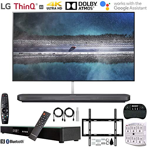 LG OLED65W9PUA 65' W9 Signature OLED 4K HDR Smart TV w/AI ThinQ (2019) +Deco Gear Home Theater Surround Sound 31' Soundbar +Deco Mount Flat Wall Mount Kit + 2.4GHz Wireless Keyboard w/Touchpad +More