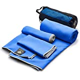 3 Pack Microfiber Bath Towels Quick Dry Best - Gym Workout Travel Swimming Antimicrobial Shammy - Camp Outdoor Hiking Towel - Ultra Absorbent Bathroom Body Hair Face Hand Neck Navy - Gift Mesh Bag