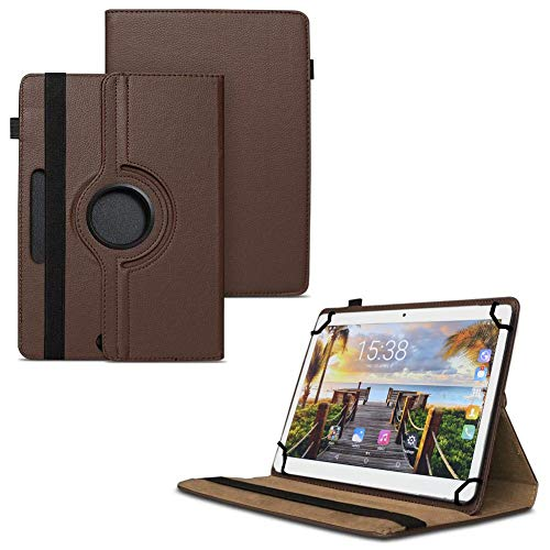 TGK 360 Degree Rotating Universal 3 Camera Hole Leather Stand Case Cover for Fusion5 105D 9.6 inch Tablet - Brown 89