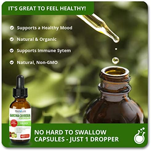 Garcinia CAMBOGIA Liquid Drops Plus FORSKOLIN - New - Powerful 70% HCA Natural Appetite Suppression Control Liquid Diet - Best Weight Loss Supplements That Work - 2oz Bottle Full 30 Day Supply 3