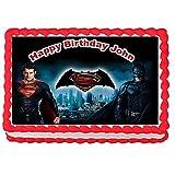 """Batman vs Superman Edible Image Cake Topper Frosting Sheet-7.5""""x10""""(1/4 sheet)"""
