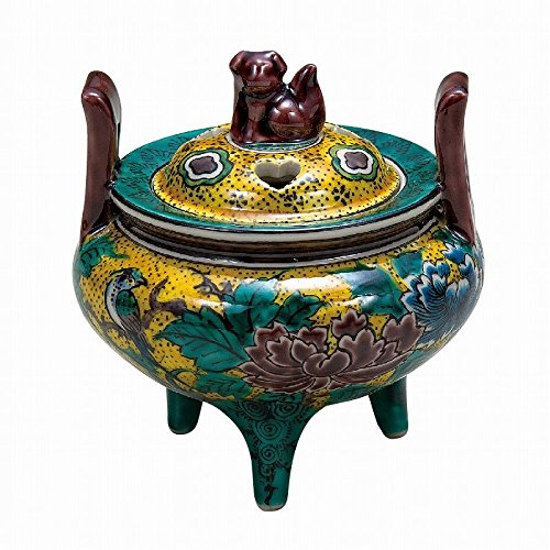 Jpanese traditional ceramic Kutani ware. Incense burner Koro. Yoshidaya peony. With wooden box. ktn-K5-1477