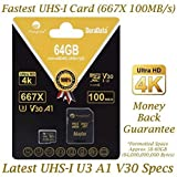 Amplim 64GB Micro SD SDXC V30 A1 Memory Card Plus Adapter Pack (Class 10 U3 UHS-I MicroSD XC Extreme Pro) 64 GB Ultra High Speed 667X 100MB/s UHS-1 TF MicroSDXC 4K Flash - Cell Phone, Drone, Camera