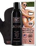 Self Tanner with Tanning Mitt - Sunless Tanning Lotion w/Hyaluronic Acid & Organic Oils Gradual Body Bronzer for Light or Medium Tan 8.0 fl.oz ...