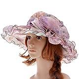 Vbiger Womens Kentucky Derby Hats Summer Wide Brim Sun Hat Flower Fascinator Hat Tea Party Wedding Hats