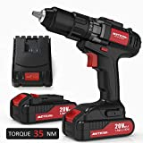 Drill Driver, Meterk 20V Cordless Electric Drill Driver with 2Pcs Li-Ion Batteries,2 Speed Drill Driver with 21+1 Position Clutch, 1/2' Max Chuck with Torque 35N.m,1H Fast Charger