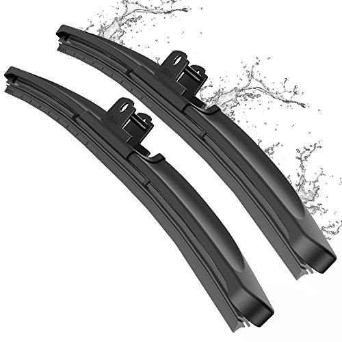 Wiper Blade, METO T6 22' + 22' Windshield Wiper : Water Repellency Polymer Materials Silence Blade, Up to 60% Longer Life, for All Season even Clean Ice & Snow in Winter(Set of 2)