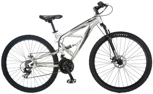 Mongoose Impasse Full Dual-Suspension Mountain Bike, Featuring 18-Inch/Medium Aluminum Frame and 29-Inch Wheels with Disc Brakes, 21-Speed Shimano Drivetrain, Silver