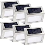 GIGALUMI 6 Pack Solar Step Deck Lights, Stainless Steel Waterproof Led Solar Lamp for Outdoor, Pathway Yard Stairs Fences. (White)