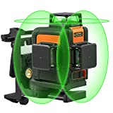 3D Green Beam Laser Level Self-leveling 3x360° Planes - 2x360° Vertical Lines & 1x360° Horizontal Line - Magnetic Pivoting Base, Auxiliary Supporting Bracket & Carrying Bag Included - Tacklife SC-L08