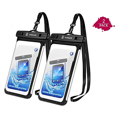 "Tarkan Edge Waterproof Pouch for Mobile Phones, Universal Dry Bag IPx8 Case Cover Compatible Upto All 6.5"" Smartphones (2-Pack, Black) 179"