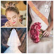 bluvast-Bride-to-Be-Echarpe-Bride-to-Be-Sash-Voile-de-marie-Badge-Diadme-de-Mariage-Tatouage-temporaire-dguisement-Enterrement-de-Vie-de-Jeune-Fille-Accessoires