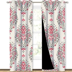 Pink Paisley Silk Curtains