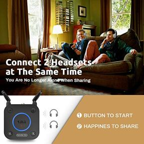 1Mii-Bluetooth-50-Transmitter-for-TV-to-Wireless-HeadphoneSpeaker-Bluetooth-Adapter-for-TV-wVolume-Control-AUXRCAOpticalCoaxial-Audio-Input-Plug-n-Play-AptX-Low-Latency