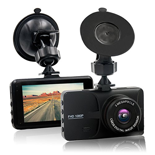 "HappyHapi Dash Camera for Cars with Full HD 1080P, 170 Wide Angle Car On Dash Video, 3.0"" TFT Display, G-Sensor, Night Vision, WDR,Parking Guard, Loop Recording Dashboard Camera Recorder"
