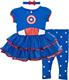 Marvel Captain America Toddler Girls' Costume Dress, Leggings and Headband Set (3T)