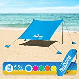 HappySummer Beach Tent with sandbag Anchors-The Portable, Lightweight, 100% Lycra SunShelter with UV Protection. The Perfect Sunshade Canopy for The Entire Family. (Royal Blue)