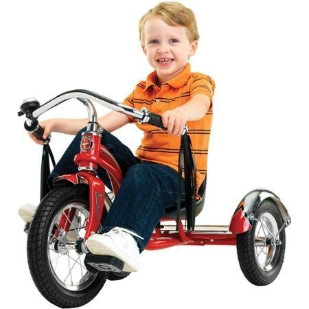 12' Schwinn Roadster Trike, Retro-Styled Classic Tricycle Frame with Low Center of Gravity, Color Red