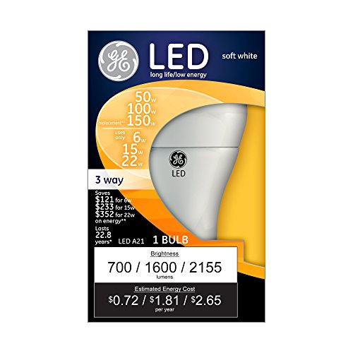 GE Lighting 92119 3-Way LED 50/100/150-watt replacement A21 Bulb with Medium Base, Soft White, 1-Pack