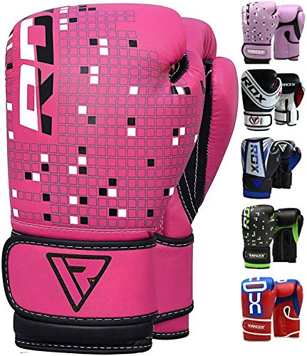RDX Kids Boxing Gloves Maya Hide Leather 4oz Junior Punch Bag MMA Training Muay Thai Mitts