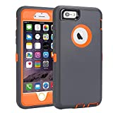 ORGOR iPhone 6s Case, Heavy Duty Shockproof Scratch-Resistant iPhone Shell Case for 4.7' iPhone 6/6s with 3-in-1 Built-in Screen Protector Without Belt Clip (Grey Orange)