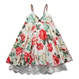 Sooxiwood Little Girls Dress Strap Flower Beach Size 3T Red-Flower