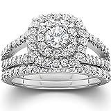 1 1/10ct Cushion Halo Diamond Engagement Wedding Ring Set 10K White Gold - Size 7