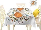 WilliamsDecor Printed Tablecloth Cartoon,Cute Baby Fox Flowers Outdoor Picnics W 50' x L 50'