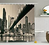 Ambesonne Queensboro Bridge NYC Night Art Prints New York City View Modern Bathroom Selection Urban Home Decor Ombre Polyester Fabric Shower Curtain, Brown Gray