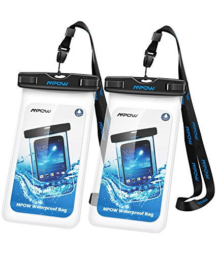 Mpow Waterproof Case, Universal Waterproof Pouch for Outdoor Activities for Devices up to 6.0' [2-PACK]