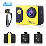OldShark C70 4K Sports Action Camera Car Dash Cam with WiFi, 170 Wide Angle with Sony Sensor, Ultra HD Waterproof DV Camcorder 20MP, with 2 Rechargable Batteries, Selfie Stick and Full Accessory Kits