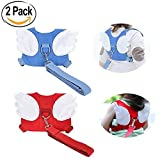 KOYUPI Baby Safe Walk 2 Packs Baby Walk, Resist Loss with Reins, Child Assistant with Angel Wings Travel Backpack (Blue + Red)