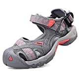 Womens Hiking Outdoor Sandals Summer Athtletic Walking Water Shoes with Closed Toe Grey Pink