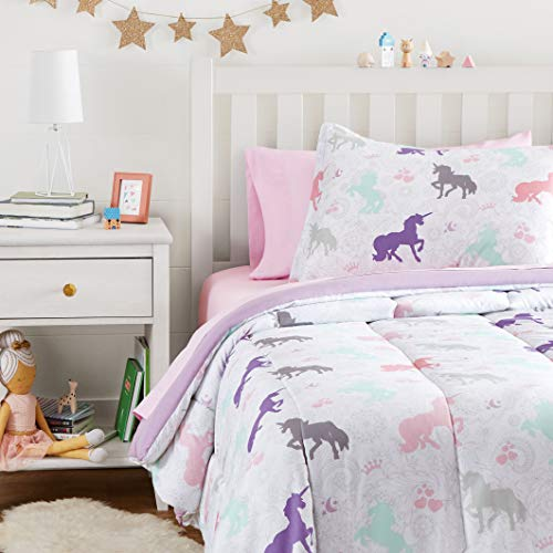 Amazon Basics Easy Care Super Soft Microfiber Kid's Bed-in-a-Bag Bedding Set – Twin, Purple Unicorns