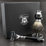 Shaving Gift Set with Gillette Mach 3 Hand Assembled razor , Classic Black Badger Brush and Stands, Great Gift Idea for (New Beginner), (Grand Father), (Father), (Husband) or (Boyfriend). by Haryali L