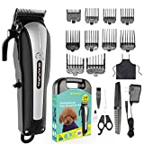 Beautural Professional Cordless Pet Grooming Clipper Kit, Low Noise Rechargeable Dog & Cat Hair Trimmer with Combs, Scissors, Styling Apron, Storage Case