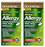 GoodSense All Day Allergy , Cetirizine HCL Antihistamine Tablets, 10 mg, 2Units (365 Count)