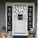 PartyTalk 3pcs Trick or Treat Halloween Banner Outdoor, Halloween Hanging Sign for Home Office Porch Front Door Halloween Decorations