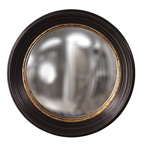Howard Elliott Rex Convex Roung Hanging Accent Wall Mirror, Brown with Mottled Gold Leaf, 25 Inch