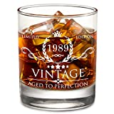 1989 30th Birthday Gifts for Men and Women Lowball Whiskey Glass - Vintage Funny Anniversary Gift Ideas for Mom, Dad, Husband, Wife - 30 Years Gifts, Party Favors, Decorations for Him or Her - 11oz